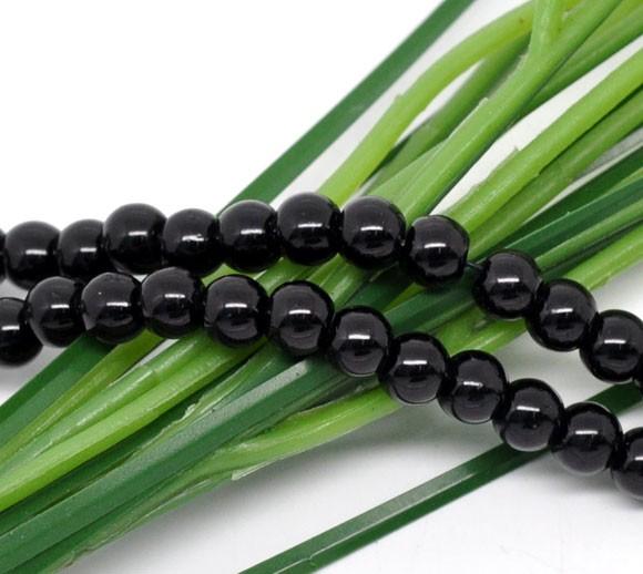 1 Strang (ca. 100 Perlen/ 82 cm) Glasperlen schwarz 8 mm